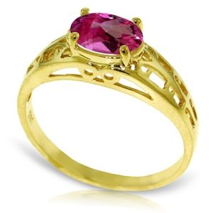 SOLID GOLD FILIGREE RING WITH NATURAL PINK TOPAZ